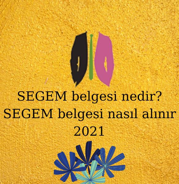 SEGEM belgesi nedir? SEGEM belgesi nasıl alınır 2021